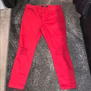 Express red ripped jeans